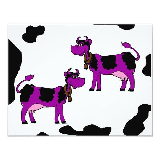 Purple & Black Cows With Brown Bells & Pink Nipple Card