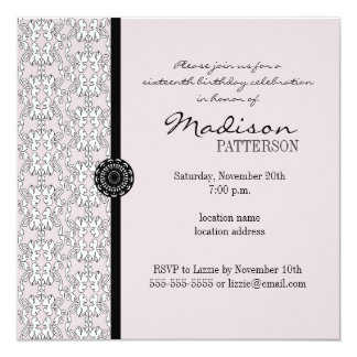 Purple & Black Damask Baroque Sweet 16 Party Card