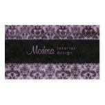 Purple Black Damask Business Card Interior Design