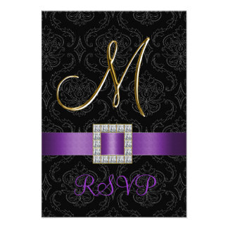 Purple Black Damask Gold Initial M Wedding RSVP Announcements