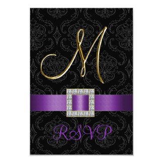 Purple Black Damask Gold Initial M Wedding RSVP 3.5x5 Paper Invitation Card