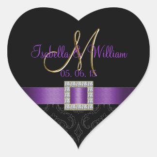 Purple, Black Damask Gold Initial Wedding Sticker
