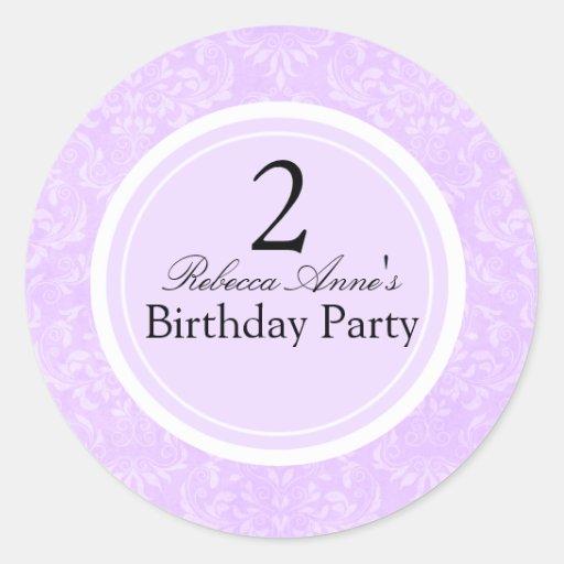 Purple & Black Damask Kids Birthday Party Sticker
