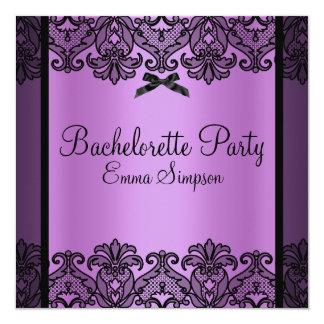 Purple & Black Damask Lace Bachelorette Invite