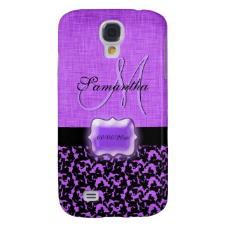 Purple black damask monogram bridal gift galaxy s4 case