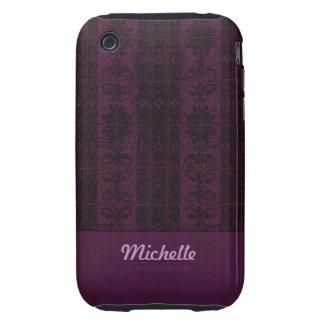 Purple black damask pattern iPhone 3 tough cases