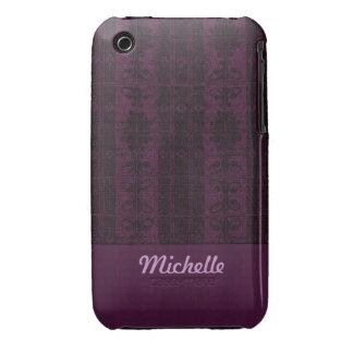 Purple black damask pattern iPhone 3 case