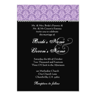 Purple & Black Damask Wedding Invitation