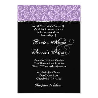Purple & Black Damask Wedding Invitation