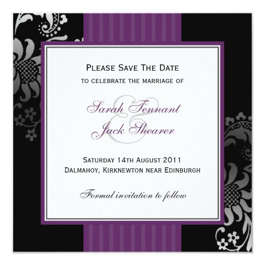 Purple & Black Damask Wedding Save the Date Card