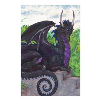 Purple Black Dragon Stationery