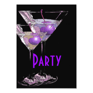 Purple black elegant party 13 cm x 18 cm invitation card