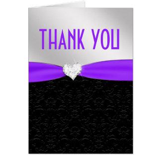 Purple Black Floral Damask Diamond Thank You Card