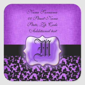 Purple black floral damask wedding square stickers