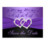 Purple Black Floral Hearts Save the Date Post Card