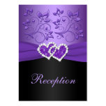 Purple, Black Floral Joined Hearts Enclosure Card Pack Of Chubby Business Cards