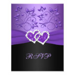 Purple Black Floral Joined Hearts RSVP Card 11 Cm X 14 Cm Invitation Card