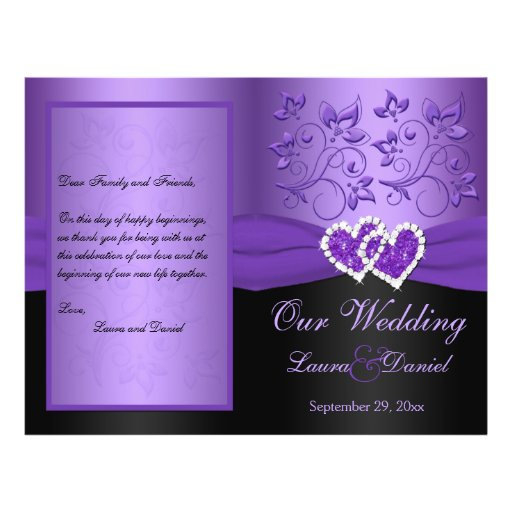 Purple, Black Floral Joined Hearts Wedding Program Custom Flyer