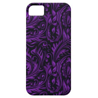 Purple & Black Floral Paisley Swirls iPhone 5 Covers