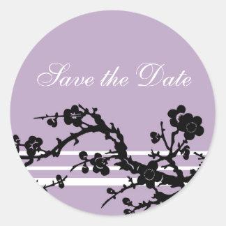 Purple Black Floral Save the Date Envelope Seal Sticker