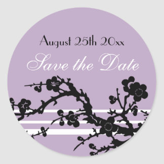 Purple Black Floral Save the Date Envelope Seal Stickers