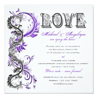 Purple black floral swirl engagement 13 cm x 13 cm square invitation card