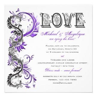 Purple black floral swirl engagement invite