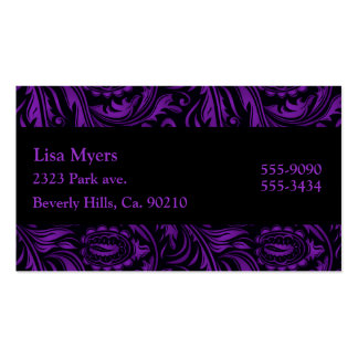 Purple & Black Floral Swirls Paisley Business Cards