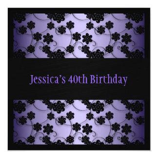 Purple & Black Flowers 40th Birthday 13 Cm X 13 Cm Square Invitation Card