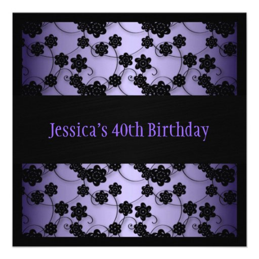 Purple & Black Flowers 40th Birthday Personalized Invites