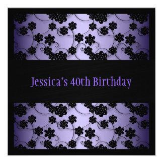 Purple Black Flowers 40th Birthday Personalized Invites