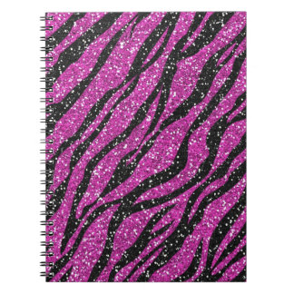 Purple Black Glitter Zebra Print Spiral Notebook
