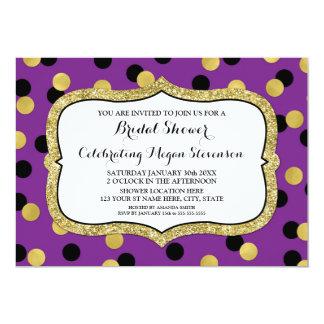 Purple Black Gold Confetti Bridal Shower Card