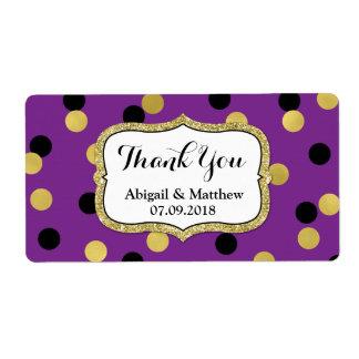 Purple Black Gold Confetti Wedding Labels
