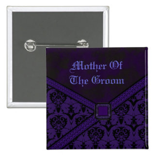 Purple & Black Goth Lace Wedding 15 Cm Square Badge