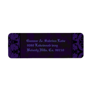 Purple & Black Goth Lace Wedding Return Address Label