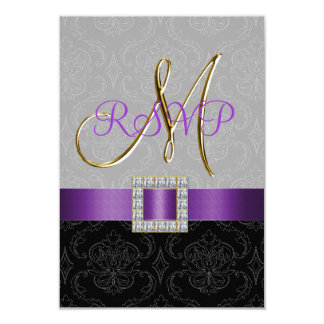 Purple Black Grey Damask Gold Initial Wedding RSVP 9 Cm X 13 Cm Invitation Card