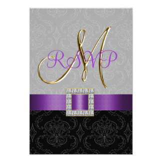 Purple Black Grey Damask Gold Initial Wedding RSVP Personalized Invites