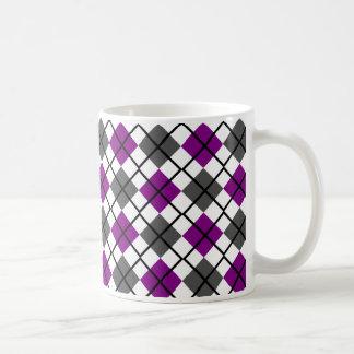 Purple, Black, Grey on White Argyle Print Mug