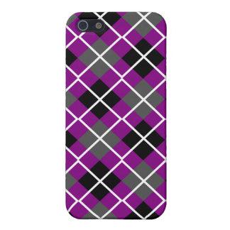 Purple, Black, Grey & White Argyle iPhone 4 Case