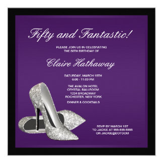 Purple Black High Heels Womans 50th Brithday Personalised Invites