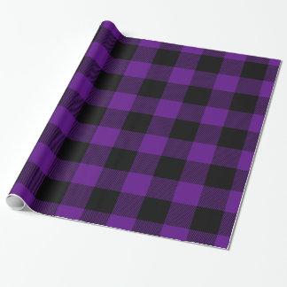Purple Black Huge Buffalo Plaid Lumberjack Tartan Wrapping Paper