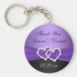 Purple, Black Joined Hearts Wedding Favour Keychain
