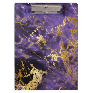 Purple Black Marble Faux Gold Glitter Pattern Clipboard