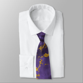 Purple Black Marble Faux Gold Glitter Pattern Tie