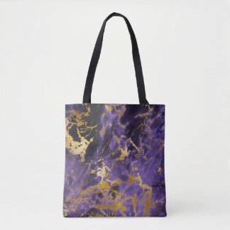 Purple Black Marble Faux Gold Glitter Pattern Tote Bag