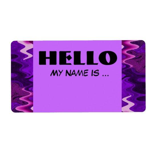 purple black name badge
