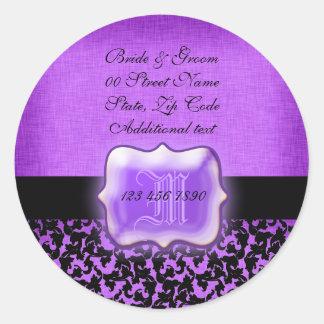 """Purple black """"new address"""" wedding floral damask round sticker"""