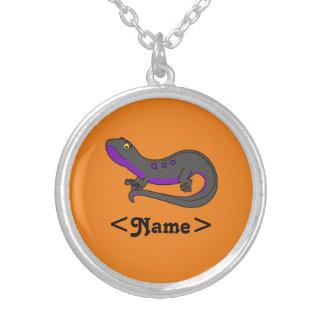 Purple & Black Newt with Spots Round Pendant Necklace