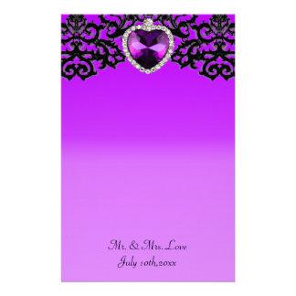 Purple & Black Ornate Heart Pendant Wedding Stationery Design